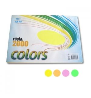 Papel Fotocopia A4 80gr Resma 100Fls c/4 Cores Fluorescentes