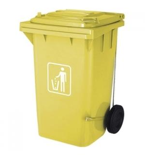 Contentor Plastico c/Pedal 2 Rodas 100 Litros Amarelo