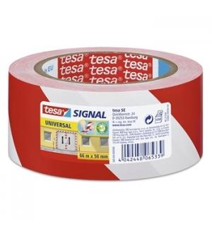 Fita Adesiva PVC Sinalizacao Vermelho/Branco Tesa 50mmx33mts