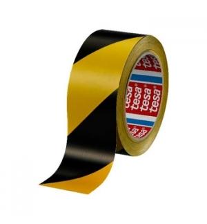 Fita Adesiva PVC Sinalização Amarelo / Preto Tesa 50mmx33mts