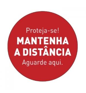 """Sinaletica Vinil """"MANTENHA A DISTÂNCIA"""" (Portas) 347x347mm"""
