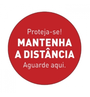 Sinalética MANTENHA A DISTÂNCIA Vinil Portas 347x347mm