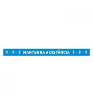 """Sinaletica Vinil """"MANTENHA A DISTÂNCIA"""" (Chão) 1000x100mm"""