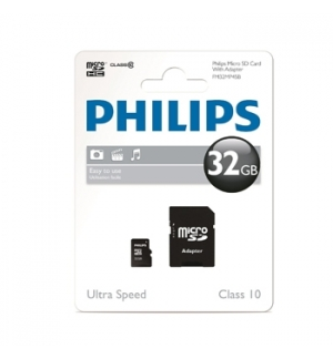 Cartao Memoria Philips Micro SDHC Class 10 32Gb c/ adaptador