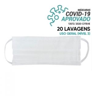 Máscara Reutilizável 20 Lavagens Branco (Pregas) 1un