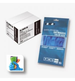 Luvas Menage Acetinado Azul Tamanho S