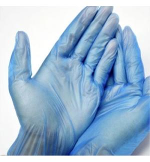 Luvas Vinil s/Po Tamanho (M) Azul - (Pack 100un)