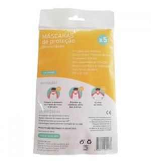Máscara Descartável 3 Camadas Alta Proteção Blister 5un