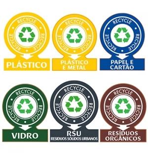Sinaletica Separacao Residuos Plastico Adesivo 141x110mm 6un