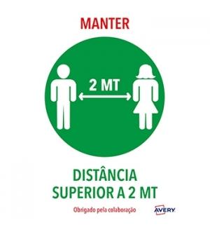Sinaletica (Manter Distancia) Adesivo A4 2un