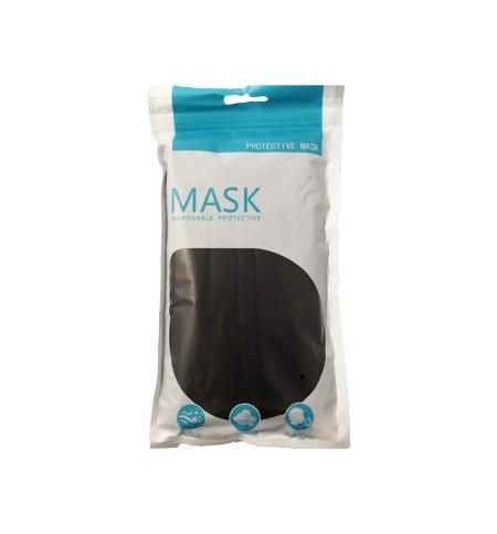Máscara Descartável 3 Camadas Preta Blister 10un