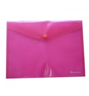 Bolsa Porta Documentos A6 com 1 Botao Transparente Vermelho