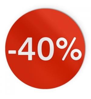 Etiquetas Promocionais Redondas -40% Rolo c/400 un Vermelho