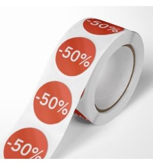 Etiquetas Promocionais Redondas -50% Rolo c/400 un Vermelho