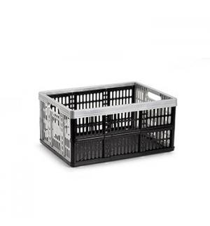 Caixa Dobrável Arrumação Plástica 48x35x4cm 32L Prata