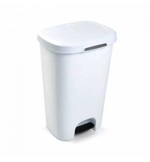 Contentor Plastico c/Pedal 50 Litros Branco un