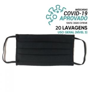 Máscara Reutilizável 20 Lavagens Preto Pregas Pack 3un