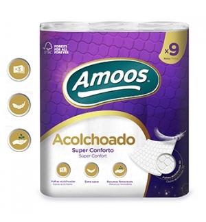Papel Higienico Domestico 20mts 3Fls Acolchoado- 9 Rolos