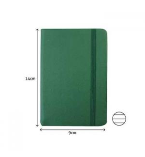 Bloco Notas Pautado 14x9cm Semi Pele Verde Esmeralda 116Fls