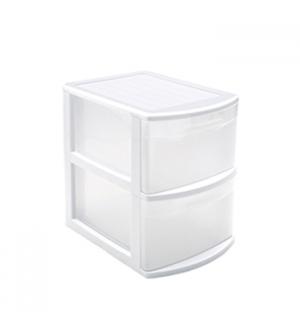Bloco 2 Gavetas Plástico Tamesis 39x28,5x40cm Branco