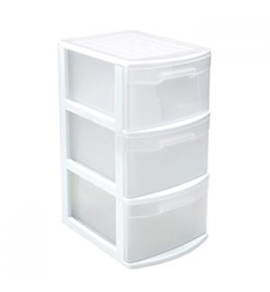Bloco 3 Gavetas Plástico Tamesis 39x28,5x58,5cm Branco