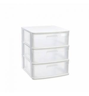 Bloco 3 Gavetas Plástico Sena 40x39x49,5cm Branco