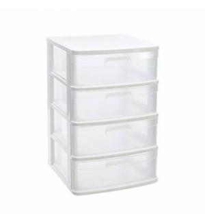 Bloco 4 Gavetas Plástico Sena 40x39x65cm Branco