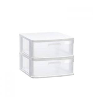 Bloco 2 Gavetas Plástico Sena 40x39x33,5cm Branco