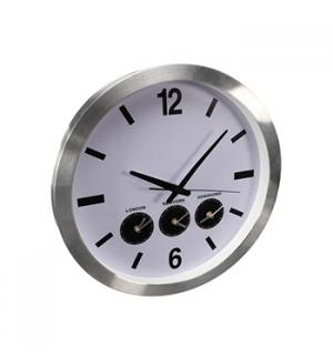 Relógio Parede Alumínio Hora 3 Paises