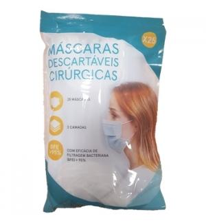 Máscara Descartável Cirúrgica 3 Camadas Blister 25un