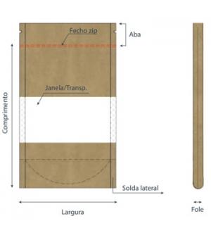 Saco Papel Stand Up com Janela 18x4,5x25,5cm Kraft 200un