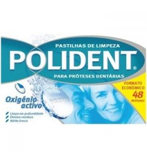 Pastilhas de Limpeza POLIDENT Próteses Dentárias  48un