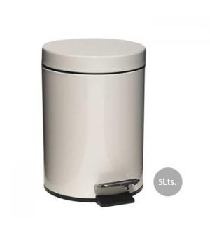 Papeleira Metal Aco Revestido c/ Pedal 5 Litros Branco
