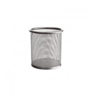 Porta lapis em rede metalica Redondo Prata