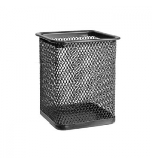 Porta lapis em rede metalica quadrado Preto