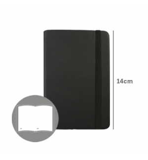 Bloco Notas Liso 14x9cm Semi Pele Preto 116 Flh (agenda)