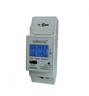 Modulo de consumo de energia duplo kW/h montagem calha DIN