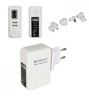 Carregador de viagem c/ acumulador com fichas USB