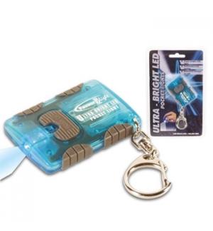 Lanterna LED azul de bolso c/Porta chaves