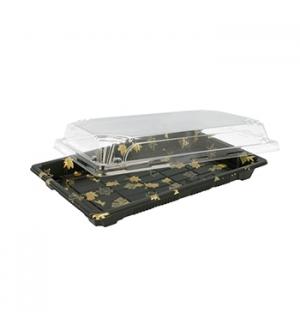 Caixa C/Tampa Plastico p/Sushi 22x14x4cm Preto 50un