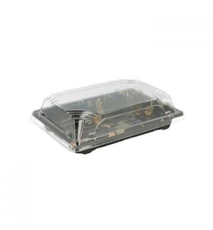 Caixa C/Tampa Plastico p/Sushi 17x12,3x4,5cm Preto 50un