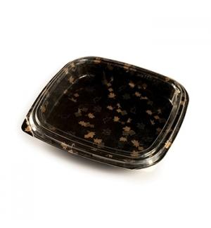 Caixa C/Tampa Plastico p/Sushi 27x27x4,5cm Preto 30un