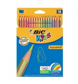 Lapis Cor 18cm Bic Kids Tropicolors 2 Cx Cartao 18un