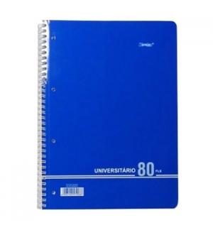 Caderno Espiral Liso A4 Capa Azul 80F 70Grs