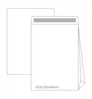Envelopes Saco 353x250x40 Branco c/Fole Lado Cx500un