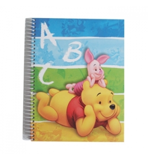 Caderno Espiral Ambar Winnie the Pooh A5 Quadriculado 120 Fl