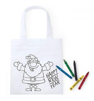 Saco Infantil de Natal  Branco com Lápis de Cera