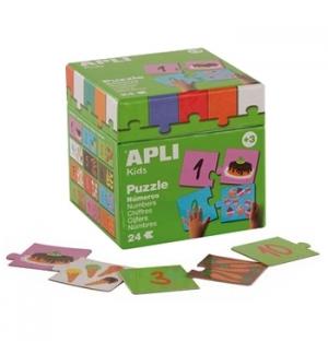 Jogo Puzzle Apli Kids Tema Numeros e Alimentos 24 Pecas