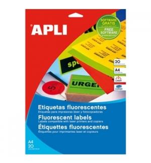 Etiquetas 210x297 Apli Amarelo Flourescen 20 Folhas A4 20n