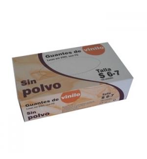 Luvas Vinil s/ Pó Super Finas Tamanho S Pack 100un